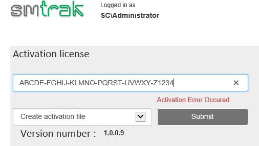 SMTrak - Settings - Activate License (Offline Mode)