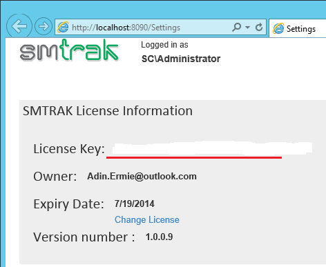 SMTrak - Validated License Information