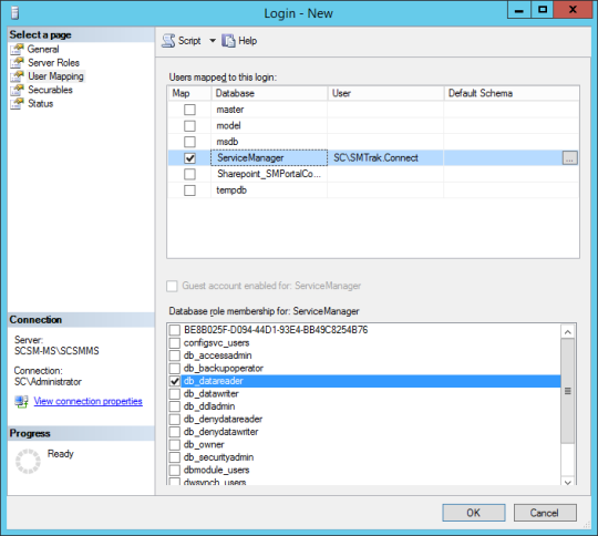 SQL Server - User Mapping (ServiceManager)