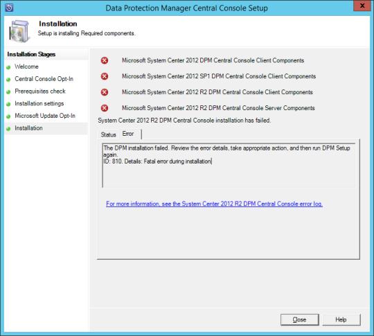 DPM Central Console Installation Error