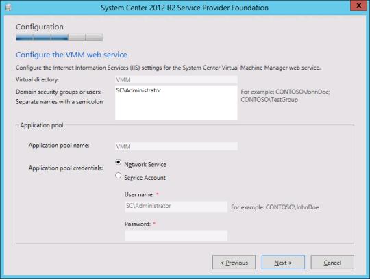 Install SPF - 10 - VMM Web Service