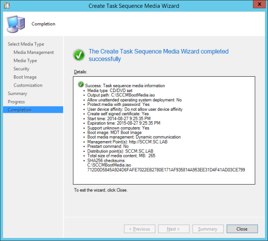 SCCM Boot Media - 10 - Completion