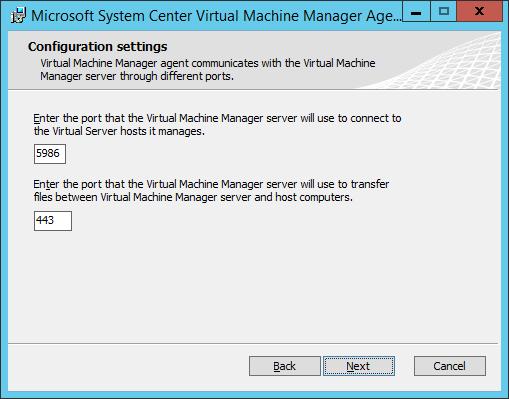 SCVMM Workgroup Host - 08 - Configuration Settings