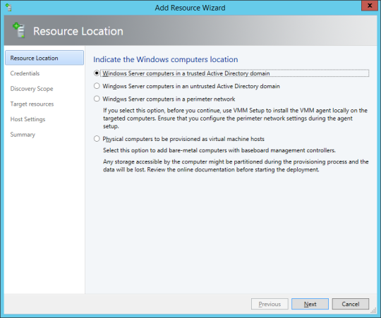 SCVMM Workgroup Host - 14 - Add Resources Wizard - Resource Location