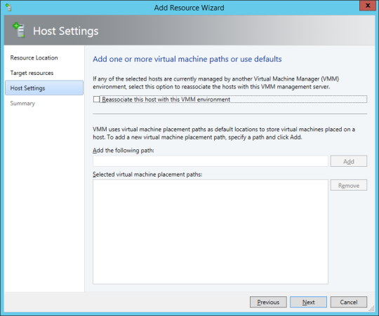 SCVMM Workgroup Host - 16 - Add Resources Wizard - Host Settings