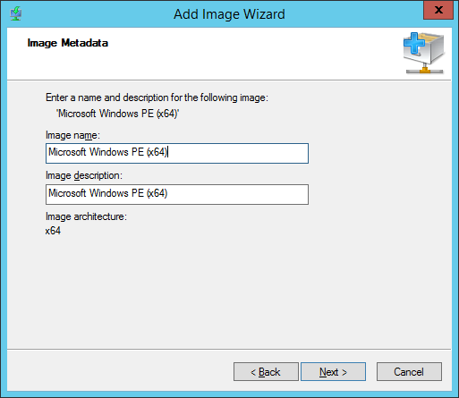 WDS - Add Boot Image - Image Metadata