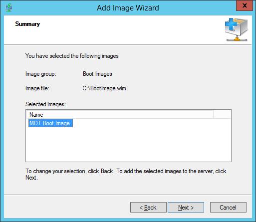 WDS - Add Boot Image - Summary