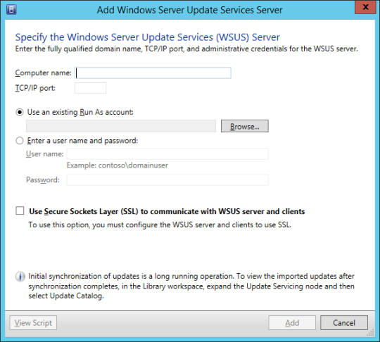 Add Windows Server Update Services Server