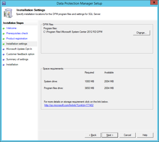 Install DPM12R2 - 08 - Installation Settings