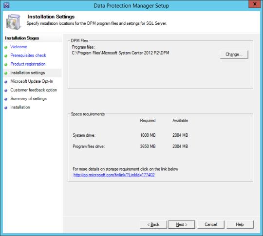 Install DPM12R2 - 08 - Installation Settings