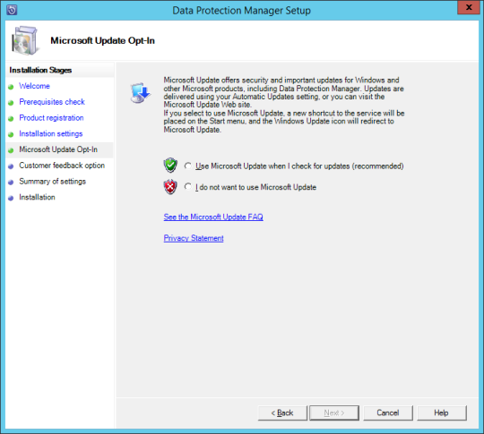 Install DPM12R2 - 09 - MS Update