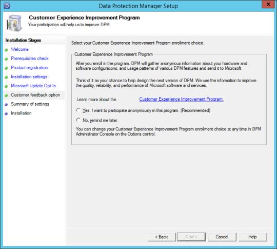 Install DPM12R2 - 10 - CEIP