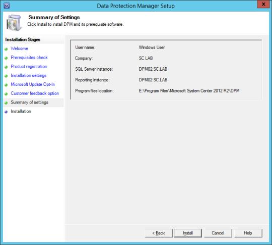 Install DPM12R2 - 11 - Summary