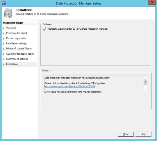 Install DPM12R2 - 12 - Installation Complete