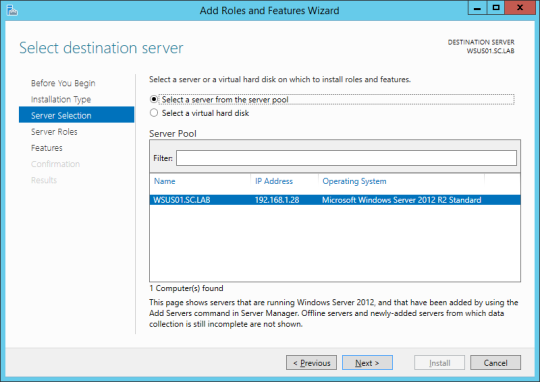 Install WSUS - 04 - Server Selection