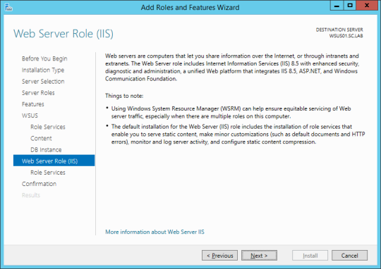 Install WSUS - 12 - Web Server Role