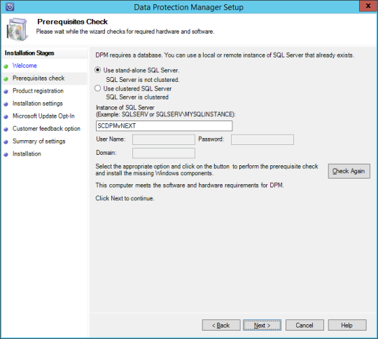 SCDPM vNext - 09 - Prerequisites Check Passed