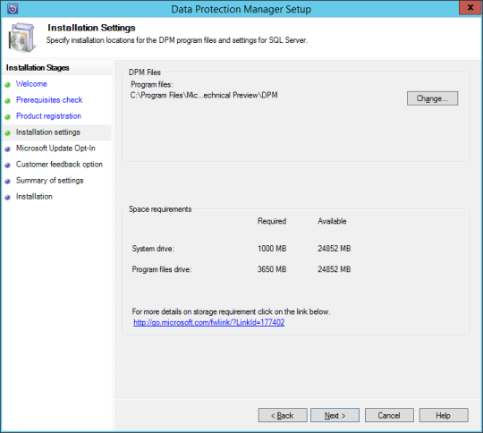 SCDPM vNext - 11 - Installation Settings