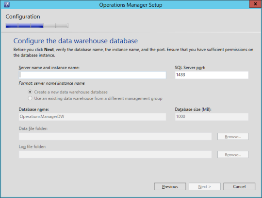 SCOM vNext - 13 - Data Warehouse Database