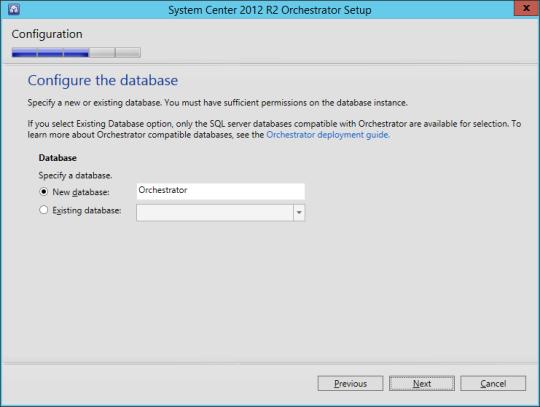 SCORCH vNext - 11 - Configure Database