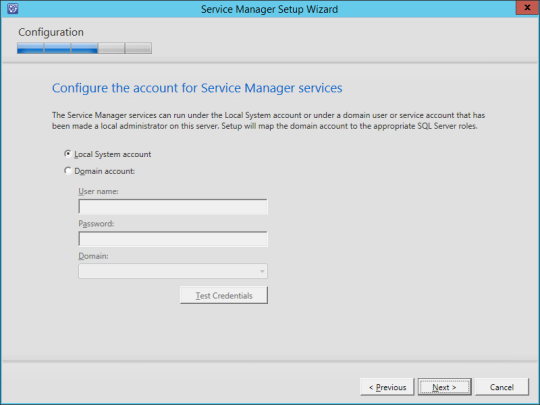 SCSM vNext - 12 - Services Account