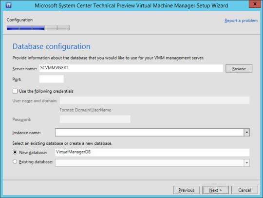 SCVMM vNext - 13 - Database Configuration