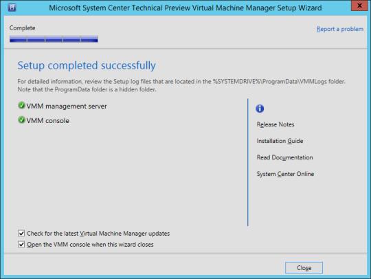 SCVMM vNext - 18 - Setup Complete