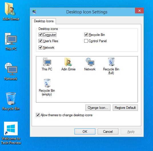 Windows 10 Desktop Icon Settings