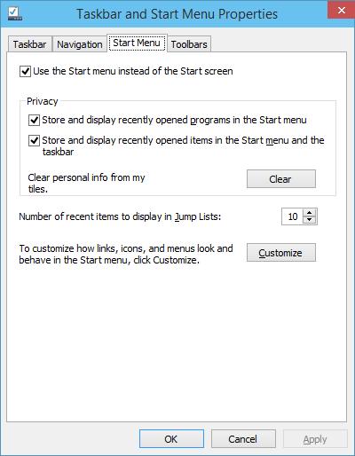 Windows 10 Taskbar Properties - Start Menu