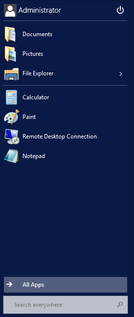 Windows Server Technical Preview - Start Menu