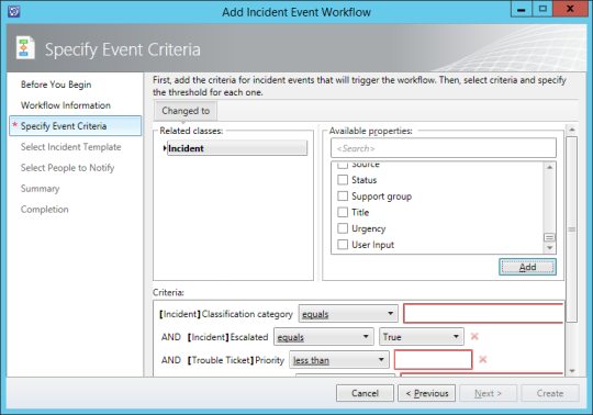 Add Incident Event Workflow - Specify Event Criteria