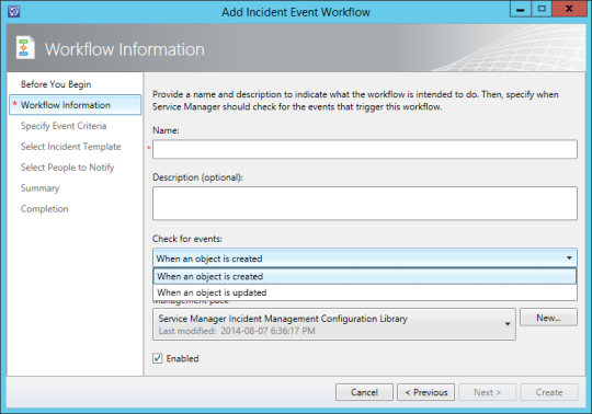 Add Incident Event Workflow - Workflow Information