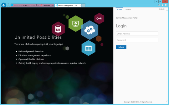 WAP Install - 13 - Service Management Portal (Tenants)