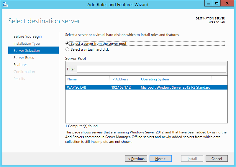 WAP Install - IIS Role - 03 - Server Selection