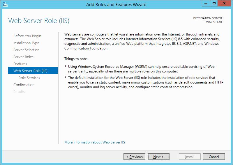 WAP Install - IIS Role - 07 - Web Server Role (IIS)