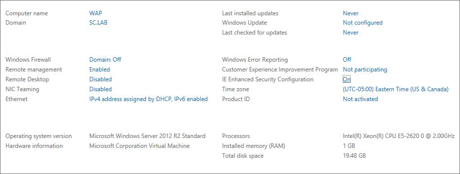 WAP Install - Server Manager Details