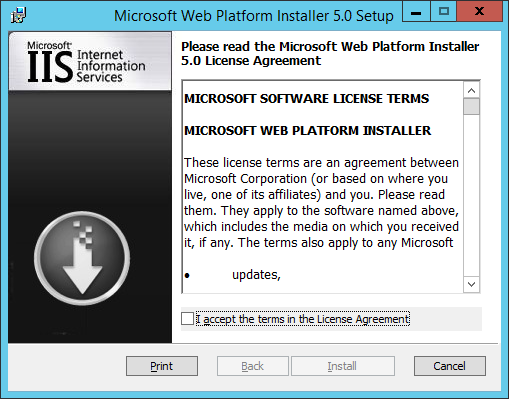 WAP Install - Web Platform Installer - 01 - License Agreement