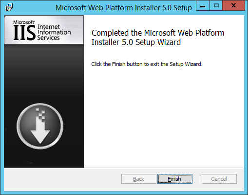 WAP Install - Web Platform Installer - 02 - Setup Finished